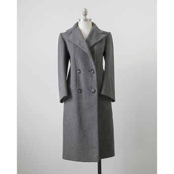 Vintage 1960s Coat | Charcoal Grey Wool Dress Coat | Double Breasted 60s Coat | Elegant Fashions Winter Coat | Gray Midi Coat | Medium M