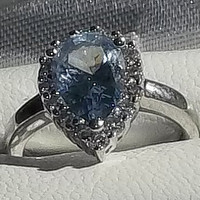 Pear Cut Aquamarine Colored CZ Diamond Simulant Engagement Ring