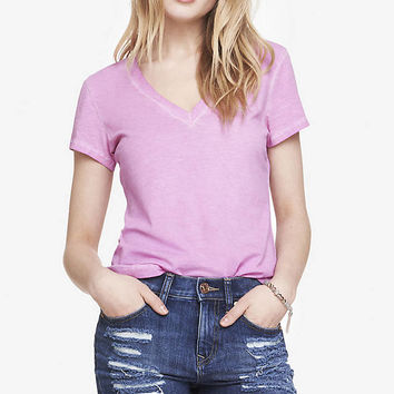 GARMENT DYED FITTED V-NECK TEE from EXPRESS