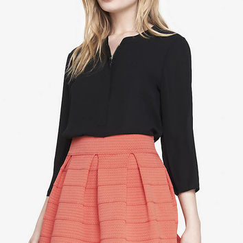 ZIP FRONT CREPE BLOUSE from EXPRESS