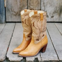 Vintage Gold Inlaid Boots, Sweet Vintage Cowboy Boots