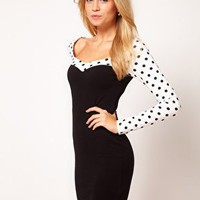 ASOS Bodycon With Spot Sleeves at asos.com