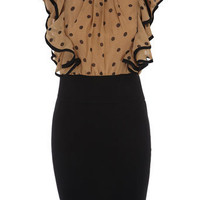 Mocha polka dot ruffle dress - Party Dresses  - Dresses  - Dorothy Perkins