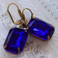 Vintage Sapphire Earrings, Blue Bridal Dangle Earrings, Sapphire Blue Estate Style Earrings Rhinestone Wedding Jewelry