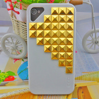 iPhone 4,4S hard Case cover with golden pyramid stud for Apple iPhone 4 case,iPhone 4S case, iPhone hand case cover  -2680
