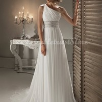 Simple A-line One Shoulder Floor Length Chiffon Beach Wedding Dress-$365.99-ReliableTrustStore.com