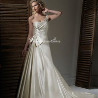 Elegant A-line One Shoulder Floor Length Satin Beach Wedding Dress-$357.97-ReliableTrustStore.com
