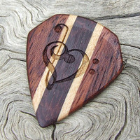 Custom Wood Guitar Pick - Handmade  Exotic Katalox - Hard Maple - Amazon Rosewood and African Mahogany Premium Guitar Pick