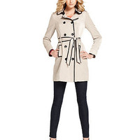 Kensie Coat, Long-Sleeve Faux-Leather Trimmed Double-Breasted Buttoned Trench - Womens Coats - Macy's