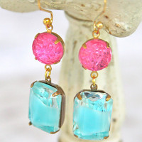 Vintage Pale Aqua Blue Rhinestone Givre Glass Rectangle Pink Textured Glass Wedding Bridesmaids Dangle Earrings
