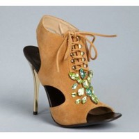 Giuseppe Zanotti tan suede jeweled lace-up cutout heels