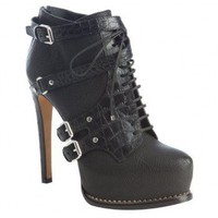 Christian Dior black leather &#x27;Guetre&#x27; buckle detail platform ankle booties