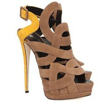 Giuseppe Zanotti Exclusive Colorblock Sandals: Brown