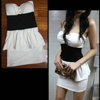 New Fashion Women Korean lady Sexy Clubwear Mini Dress White