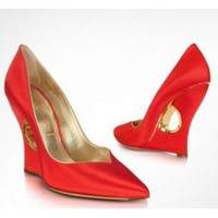 Casadei Red Satin Pump Wedge Cutout Shoes