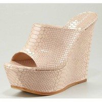 Casadei Python-Stamped Leather Wedge Mule