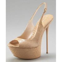 Casadei Python-Embossed Slingback Pumps