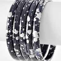 Speckled Bangles in Cotton White and Charcoal Gray