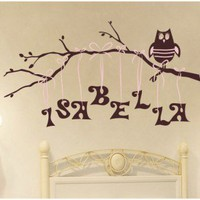 Alphabet Garden Designs Personalized Owl on Branch Wall Decal - child130 - All Wall Art - Wall Art & Coverings - Decor