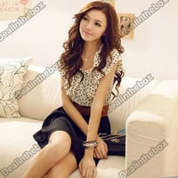 Fashion Women Korean Summer New Short-sleeve Dots Polka Waist Dress N98B
