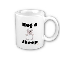 Huggable White Sheep Hug A Sheep Coffee Mug from Zazzle.com