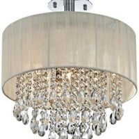 Antique Ivory Shade and Crystal Semi-Flush Ceiling Light - EuroStyleLighting.com