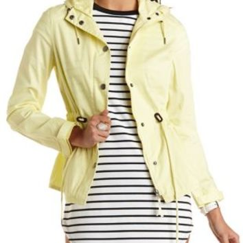 Drawstring Hooded Anorak Jacket by Charlotte Russe - Yellow