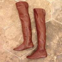 Vintage, OTK, boots, 6, 5.5, 5 1/2, vegan, over the knee, brown, leather, zipper, flat, retro, robin, hood,