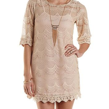 Scalloped Lace Shift Dress by Charlotte Russe - Natural