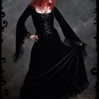 Angelique Fairy Gown in Long Black Velvet - Custom Elegant Gothic Clothing and Dark Romantic Couture