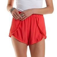 Pom-Pom Trim High-Waisted Shorts by Charlotte Russe - Coral
