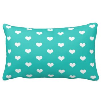 White Hearts Pattern on Mint - Throw Pillow