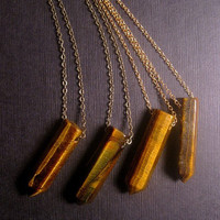 Tigers Eye Necklace - Tigers Eye Point - Point Pendant - Natural Necklace - Healing Stone - Pencil Point Necklace