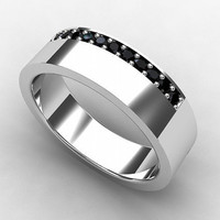 Black Diamond ring, Titanium, men wedding band, men black diamond, black wedding band, titanium wedding band