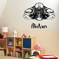 American Football Wall Decals Man Personalized Name Sport Boy Sportsman Stickers Home Vinyl Decal Sticker Kids Nursery Baby Room Decor KG490