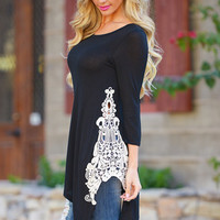 Side With Me Tunic - Black (S to 3XL)