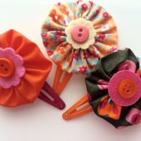 Orange and Pink Hair Clip Set - Yo Yo Flower Snap Clip Barrettes for Girls - Hair Clips for Toddlers - Fabric Flower Barrettes -Button Clips