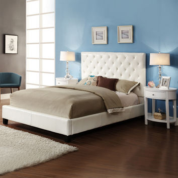 Home Creek Sascha Tufted Queen Bed with 2 Oval Nightstands