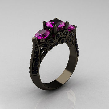 Classic 14K Black Gold Three Stone Black Diamond Amethyst Solitaire Ring R200-14KBGBDAM