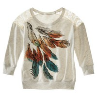 License Juniors Feathers Graphic Sweatshirt - Oatmeal