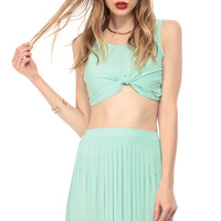 Mint Tie the Knot Sleeveless Crop Top