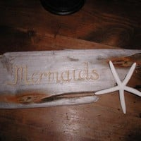 FREE SHIPPING  Handpainted Mermaids Sign On by carolecollects