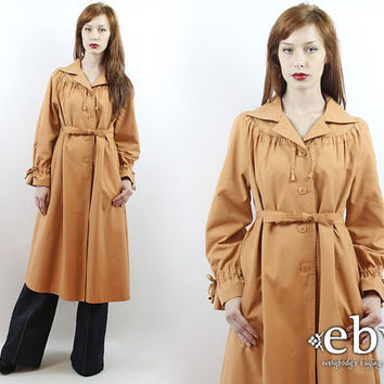Vintage 70s Apricot Belted Trench Coat S M L XL Princess Coat Vintage Coat Vintage Jacket Spy Coat
