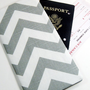 Travel Passport Wallet in Gray Chevron Zig Zag