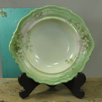 Antique O&EG Berry Bowl • O and EG Royal Austria •  Oscar and Edgar Gutherz Handpainted Dish • Green and White