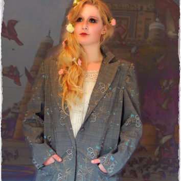 Vintage plaid embroidered coat / large maxi trench / brown check wool / blue floral stitching fall winter jacket / new romantics boho grunge