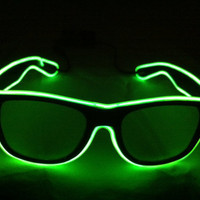 Green on Light Purple Glow Glasses - Battery Powered Glowing EL Rave Party Eyewear