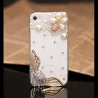 FREE WORLDWIDE SHIPPING iPhone 4S 4 case crystals pearls eagle wings Clear Transparent cover
