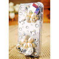Apple iPhone 4S 4G Crystals Pearl Flower Clear Transparent Protective Back Skin Case Cover Free Shipping Worldwide