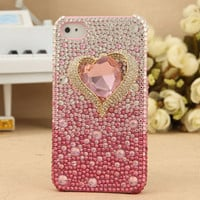 FREE SHIPPING iPhone 4S 4G Titanic Diamond Bling Pink Crystal Girly Stylish Back Case Cover